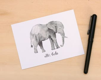 "Postcard ""All love"" elephant lettering watercolor"