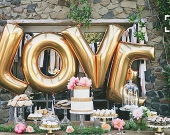 Large balloon letters and numbers gold silver
