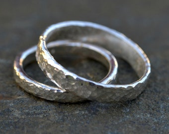 Wedding Rings Set, Couple Rings, Silver Rings, Hammered Wedding Bands, His and Hers Rings, Textured Rings, Unusual Wedding, Quirky Wedding