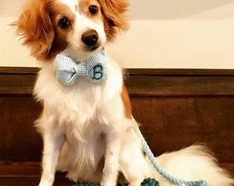 Monogram Yellow Seersucker Bowtie - Dog Lover Gift by Three Spoiled Dogs