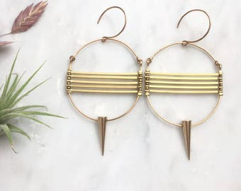 Circular Brass Points and Lines Earrings