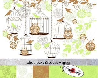 Birds Owls & Cages Green Paper and Elements SET: Digital Scrapbook Paper Pack (300 dpi) Wedding Baby Shower Floral Brown Green