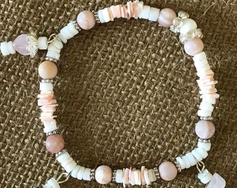 blush pale pink beaded and shell bracelet.  We have more like this if you like to have a multi layer look.
