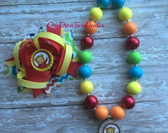 Daniel Tiger chunky necklace hair bow set
