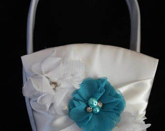 White or Cream Satin Flower Girl Basket with White and Turquoise Accent Flower Pearls and Rhinestone Accent