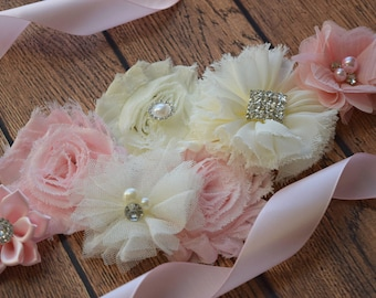 Blush pink  ivory Sash , flower Belt, maternity sash, wedding sash, flower girl sash, maternity sash belt
