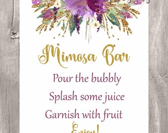 Mimosa bar sign, purple and gold floral bubbly bar printable sign, Instant Download, bridal shower, baby shower, wedding mimosa bar sign