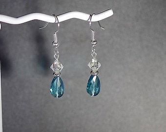 Swarovski Crystal Earrings - Sterling Silver Wires - Swarovski Teardrop Crystals (shown in Light Turquoise) with Pearls or Crystal Bicones