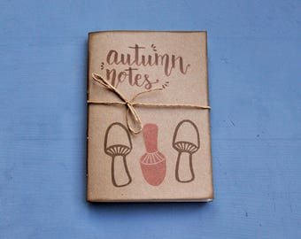"""Handmade notebook with recycled paper, handprinted journal, writers journal, gift for him, """"Autumn notes"""""""
