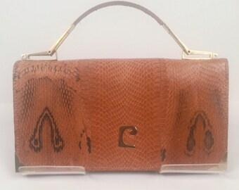 Vintage 1970s Pierre Cardin Skin Handbag/Shoulder Bag/Clutch Brown