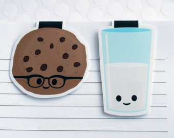 Milk and Cookie Magnetic Bookmarks, Set of 2 Cute Cookie Paper Clips for Planners or Cookbooks, Kawaii Page Markers for Books and Reading
