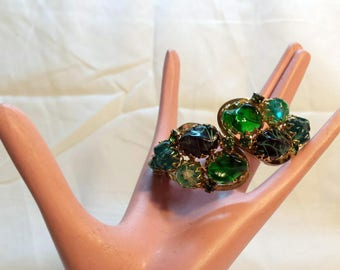 1950s Vintage Juliana Clamper Cuff Bracelet Greens and Blue Glass Beads Faceted Free Form and Rhinestones