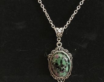 Anyolite (Ruby in Zoisite) Gemstone Cameo Necklace