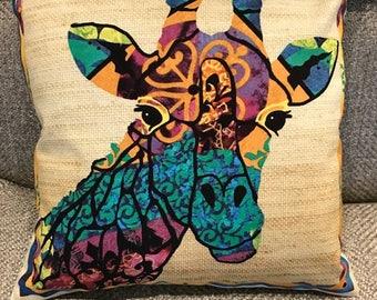 Mutlicolored Giraffe Pillow Cover