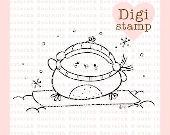 Snowboard Birdie Digital Stamp - Winter Stamp - Digital Bird Stamp - Bird Art - Bird Card Supply - Winter Craft Supply