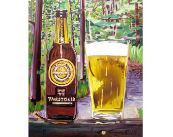 Warsteiner German Beer Art, Germany Painting, Anniversary Gift for Him, German Restaurant Decor, Man Cave Beer Poster, Beer Gift for Brother