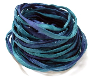 "5PC. MIDNIGHT  2MM Hand Dyed Silk Jewelry Cord//5PC Hand Dyed Silk Cording 1/8"" X 36""//Hand Dyed Silk Jewelry Bracelet/Necklace Cording"