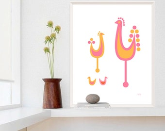 Large Rooster Print, Chicken Decor, Danish Design, Rooster Kitchen Decor