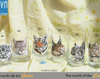 The world of the cats, hand painted glassware, set of artistic glasses