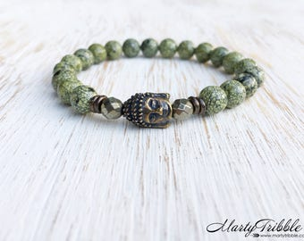 Buddha Bracelet, Serpentine Pyrite Gemstone Bracelet, Buddhist Jewelry, Wrist Mala Bracelet, Mala Beads Bracelet, Healing Crystals Bracelet