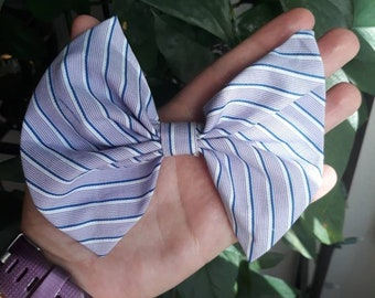 Lavender striped hair bow