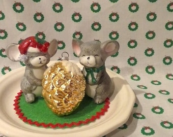 Vintage Christmas Mice Home decor, vintage up cycled