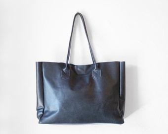 Shopper en cuir bleu Jean, fourre-tout en cuir Nappa, sac à bandoulière, besace en cuir bleu, sac cuir, sac à main cuir, Shopper tranchant brut, bleu cabas