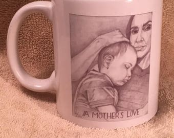 "Mug with art,  ""A Mother's Love"""