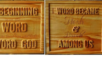 John 1:1 Carved Wood Sign - a two piece set - with Free Shipping