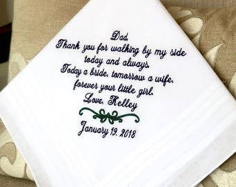Father of the Bride Gift-Wedding Gift for Dad-Wedding Handkerchief-Wedding Hankerchief-Wedding Hankies-Gift for Dad-WALKING, TODAY a BRIDE