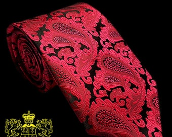 Red and Black Paisley Silk Tie