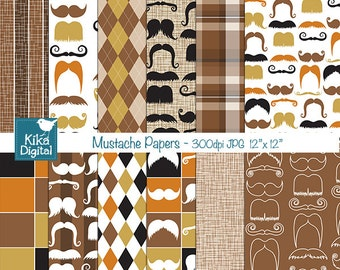 Mustache Digital Papers - Digital Scrapbooking Papers - card design, invitations, background, paper crafts - INSTANT DOWNLOAD
