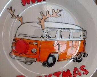 Vw campervan Christmas plate, personalised