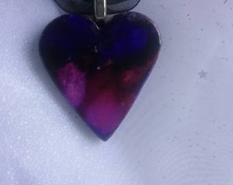 Handpainted ceramic heart pendant necklace