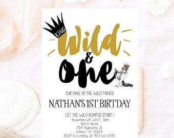 Where the wild things are, birthday invitation, wild one birthday invitation, max wild thing, where wild, king of the wild things, wild