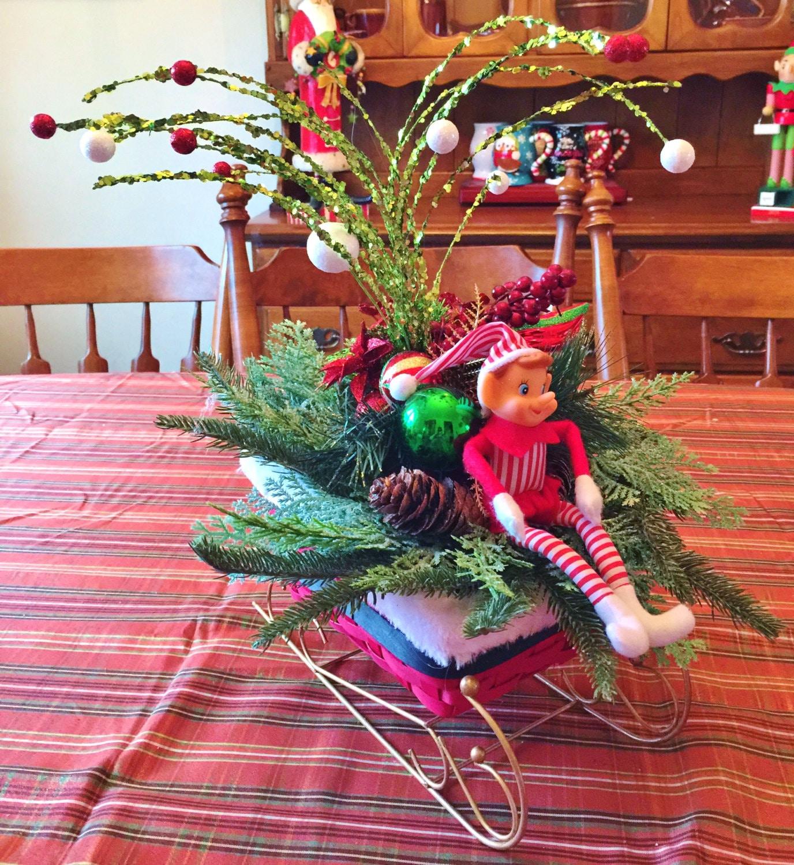 sale santa sleigh elf holiday christmas centerpiece decor