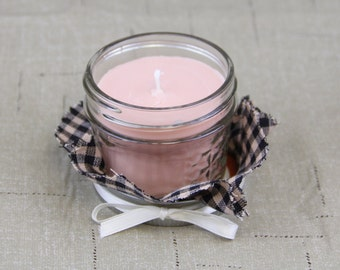 Soy 4 oz. Jelly Jar Candle in Vanilla Hazelnut scent with creamy rusty light tan color 100% Soy wax