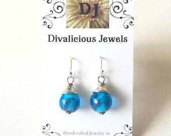 Blue Lamp Work Earrings, Blue Hand blown Glass Earrings, OOAK