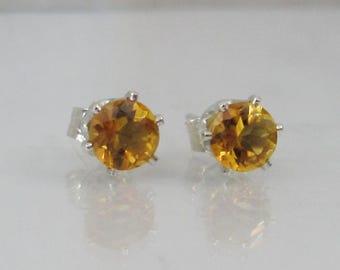 Golden Citrine Post Earrings in Sterling Silver, 5mm Brazil Citrine Gemstone, Honey Citrine Stud Earrings, November Birthstone Jewelry