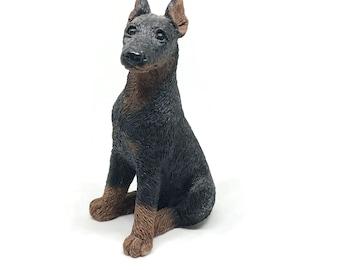 Vintage Doberman Pinscher Figurine Statue Stone Critters  Vintage Black Dog Figurine Vintage Collectible Made in America