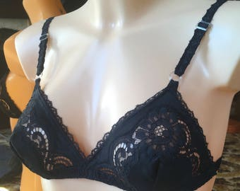 Vintage 70's black bra  Keturah Brown for Harrods