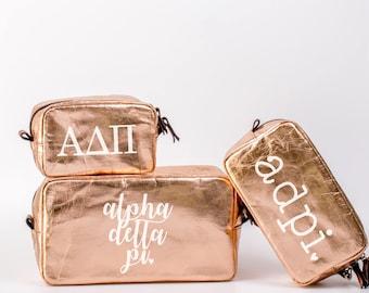 Alpha Delta Pi Cosmetic Bag Set / ADPi Travel Bag / Sorority Cosmetic Bag Set of 3 / ADPi Sorority Makeup Bag / Pencil Bag / Bid Day Gift