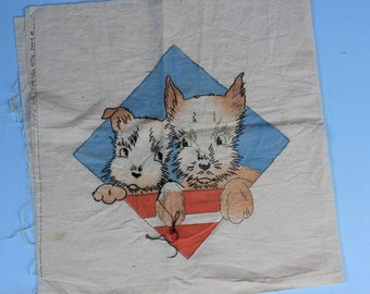 Vintage Pillow Top and Back Pre- Printed Pattern with Scottie, Scotty Dogs. Embroidery