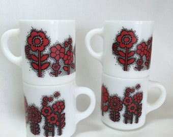 Red and Black Flowered Hazel Atlas Milk Glass Mugs ~ Set of Four Retro Flower Power Cups 1960s