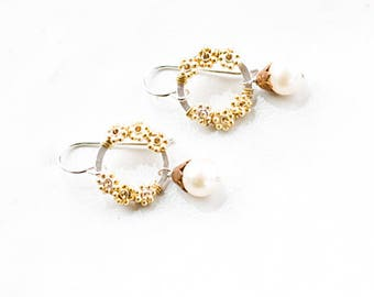 Pearl Drop Earrings Gold Vermeil Flower Earrings Sterling Silver Earrings Perfect Gifts For Her