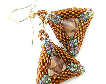 Triangle Earrings, Peyote Dangle Earrings, Earrings with Crystals - E2010-43