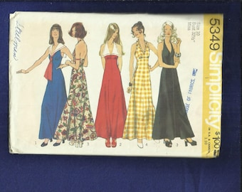 1970's Simplicity 5349 Evening Halter Dresses with Sailor or Pointed Collars  Size 10