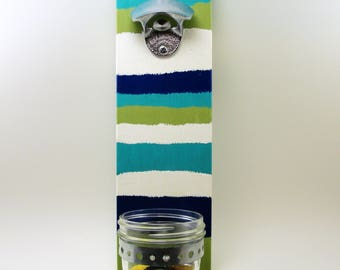 wall mount chrome plated/stainless steel bottle opener mason jar cap catcher stripes cedar wood