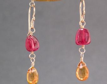 Ruby and Mandarin Garnet Earrings Victorian 240