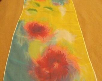 Vintage Chiffon Floral Scarf, scarf, chiffon scarf, floral scarf, floral, accessories
